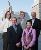 "A new School of Public Health:  Brown's leadership team for the School of Public Health: Rear, from left, department chairs Christopher Kahler (Behavioral and Social Sciences), Stephen Buka (Epidemiology), and Constantine Gatsonis (Biostatistics). Front, Ira Wilson (Health Services, Policy and Practice) and Terrie ""Fox"" Wetle, inaugural dean of public heath."