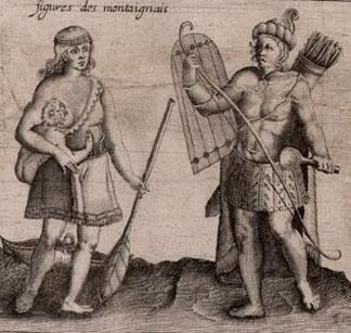 Des Sauvages - The depiction of two Montaignais is a detail from a map in Samuel de Champlains 1613 work, Les voyages du sieur de Champlain Xaintongeois ... The JCB Library has made a facsimile of the map available for sale.