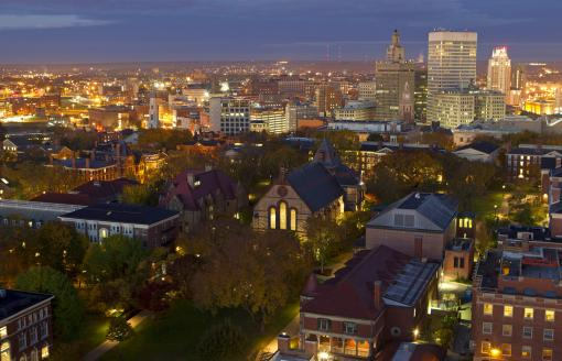 Kick-starting the knowledge economy - With $178.9 million spent on research and 98 new technology patents filed last year, academic research at Brown is a leader in developing the knowledge economy.Pre-dawn photo of Brown and Providence by Mike Cohea/Brown University.
