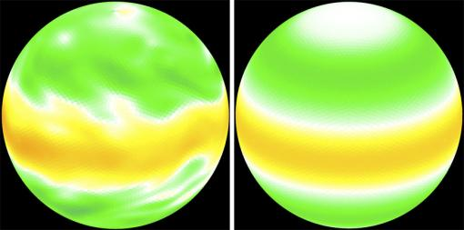 "Two views, two approaches to simulation - Computer-generated images of a planet's ""zonal velocity"" (the west-to-east component of wind) use direct numerical simulation (the traditional approach, left) and direct statistical simulation. The latter has limits, but its development is at a very early stage."