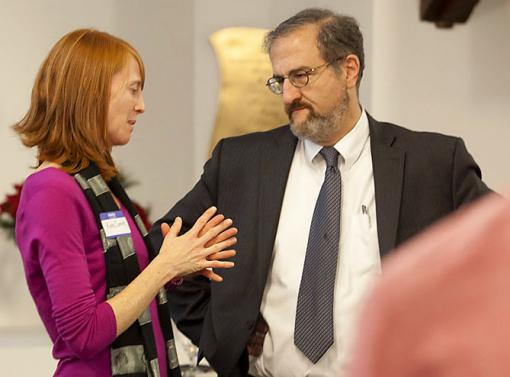 No ordinary class - Katherine Smith, speaking with Provost Mark Schlissel, wanted to offer a class that would be a studio for learning by doing. The result: Her students produced a new high school curriculum on climate change and health.