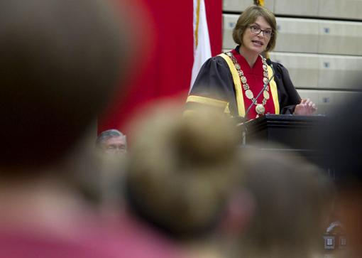 Rain site - President Paxson delivered the 2012 Opening Convocation Address in the Pizzitola Sports Center, away from rain and lightning. The ceremonial walk through the Van Wickle Gates would have to wait for better weather in the morning.