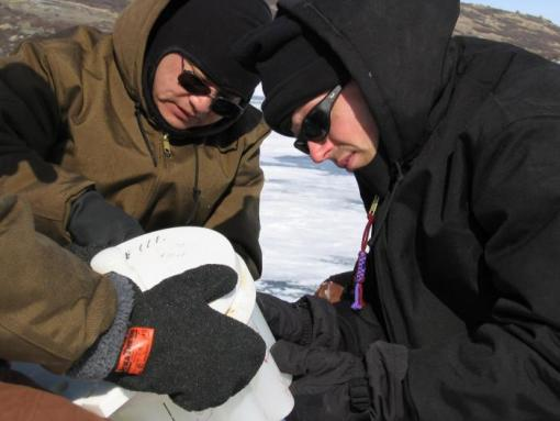 Climate clues - William D'Andrea, right, and Yongsong Huang took cores from two lakes in Greenland to reconstruct 5,600 years of climate history near the Norse Western Settlement.