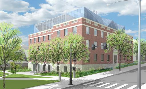 The Building for Environmental Research and Teaching - The last structural beam will be hoisted into place above the former Hunter Lab, a milestone in the $35-million renovation to create the Building for Environmental Research and Teaching.