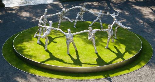 Tom Friedman, Circle Dance  (2010) - American artist Tom Friedman (b. 1965) drew his inspiration from the Henri Matisse painting La Danse. The life-size stainless-steel work, an anonymous gift to the University, is being installed along The Walk near Waterman Street.