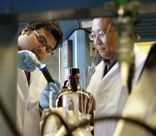 Metal masters - Vismadeb Mazumder (left) and chemistry professor Shouheng Sun, both of Brown University, have demonstrated that a unique core-shell nanoparticle is a cheaper, more active and longer-lasting fuel-cell catalyst than commercially available platinum products.