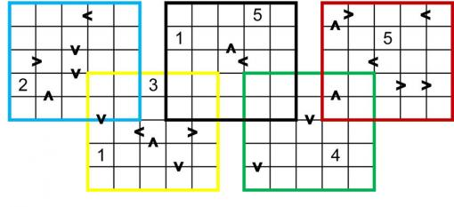 You'll need a pencil and a sturdy eraser - How to solve: Place numbers from 1 to 5 into each square so that each number appears once in each row and once in each column in each 5x5 grid. Numbers in squares connected by a greater-than sign must satisfy that greater-than property. Click the image for a larger printable puzzle or download a pdf version.