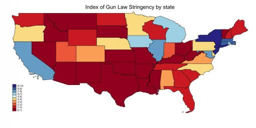 Traffic flow - Traffickers tend to move illegal guns from states with weaker gun laws (red-hued)   into states with stricter gun laws (blue-shaded).