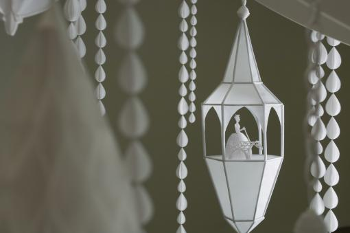 Kirsten Hassenfeld, Dans la Lune  (2007) - Detail from an installation commissioned by Rice University Art Gallery, Houston. Loan courtesy of the artist and Artists Pension Trust, New York.