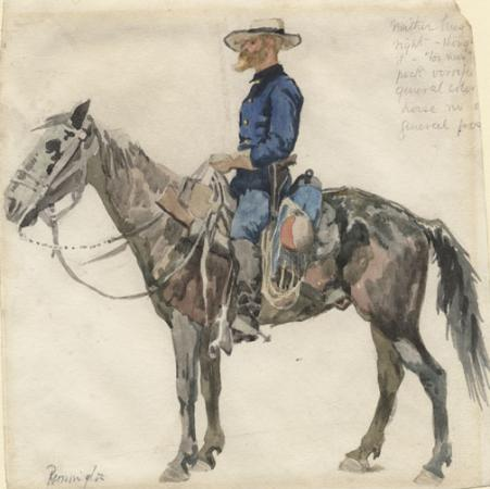 - Frederick Remington, U.S. cavalry trooper in campaign dress, ca. 1890, watercolor (Anne S. K. Brown Military Collection)