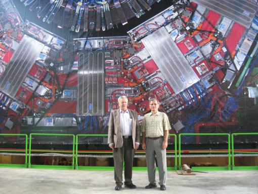 "Found, apparently: the Higgs boson, physics' holy grail - Gerald Guralnik (left) with colleague Ulrich Heintz, was one of six international physicists who originated the Higgs theory in 1964. Guralnik told the New York Times that there was ""applause like a football game"" at the meeting where the Higgs boson discovery was announced. Heintz and other members of the Brown University physics faculty worked on the successful search for the Higgs boson at CERN near Geneva."