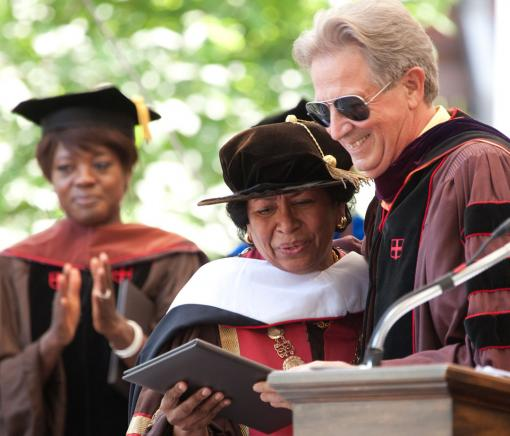 Doctoral honors - Senior Fellow Donald C. Hood congratulates Ruth Simmons on her honorary degree.