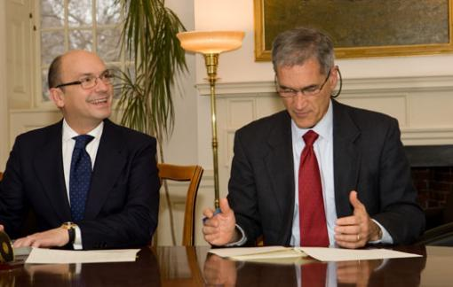Reciprocal strengths - Santiago Iñiguez, dean of IE Business School in Madrid, and Brown Provost David Kertzer signed a memorandum of understanding in February 2009, leading to the new cooperative master's degree program for mid-career executives being announced today.