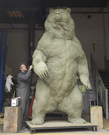 Indomitable - Artist Nick Bibby has created a 10-foot bronze Kodiak bear to be installed on Ittleson Quadrangle Monday morning, Oct. 28.