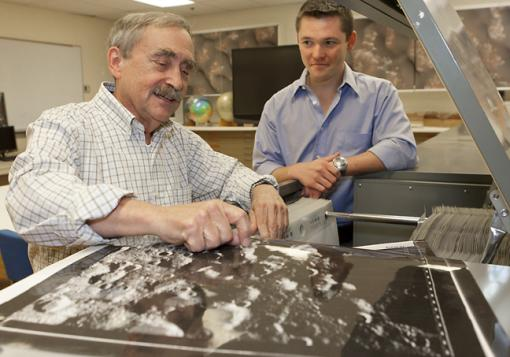 A productive collision - Peter Schultz and graduate student Brendan Hermalyn analyzed data from bits of the Moon's surface kicked up by a NASA-engineered collision. They found unexpected complexity — and traces of silver.