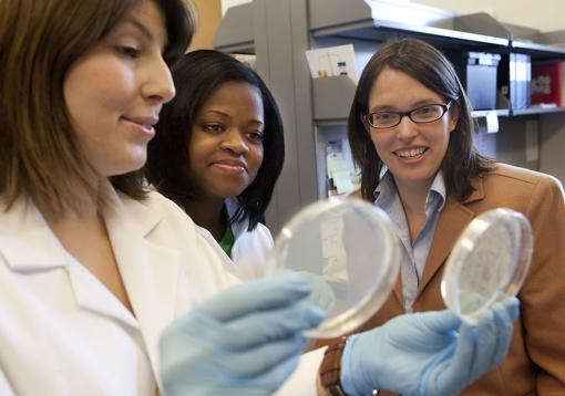 "Regulation for the rest of the gene - ""People had thought for a long time that most of the regulation was  happening at the beginning of a gene, so this is a new step,"" says Erica Larschan, right, with graduate students Marcela Soruco, left, and Jessica Chery."