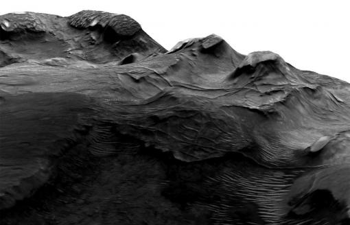 Fossilized hydrology - A 3-D image of an impact crater in the Nilosyrtis area on the Martian surface shows long pipe-like ridges, fossilized evidence of ancient subsurface water flow.