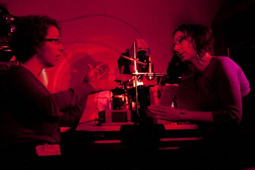 The eyes have it (so does the skin) - Elena Oancea, left, and Nadine Wicks discovered that skin cells contain rhodopsin, a photosensitive receptor used by the eye to detect light. It's part of human skin's self-defense against damage to DNA.