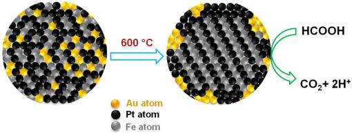 Midas touch on the nanoscale - Gold atoms create orderly places for iron and platinum atoms, then retreat to the periphery of the fuel cell, where they scrub carbon monoxide from fuel reactions. The tighter organization and cleaner reactions extend the cell's performance life.