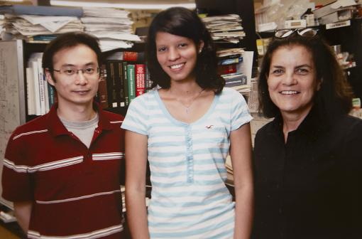 Summer in the lab; a career in academic research - Janice Vicenty, center, worked with Tayhas Palmore and Kwang-Min Kim in Palmore's lab. The summer laboratory experience, arranged through the Leadership Alliance, encourages young people to consider careers in scientific research.