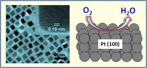 The Making of a Platinum Nanocube - On the left is a transmission electron microscopy image of 7 nanometer platinum nanocubes used for oxygen reduction reaction. In the upper right corner of this image is a high resolution picture of a single cube. On the right is an illustration demonstrating the oxygen reduction on a Pt(100) surface of a cube.