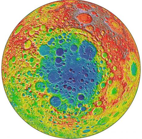 Among the largest known craters in the solar system - Red areas on the topographic image indicate high elevations, and blue or purple areas indicate low  elevation. The South Pole Aitken basin could hold clues about the composition of the Moon's mantle.