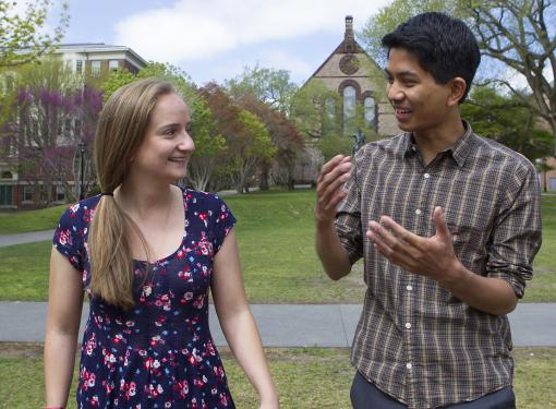 "The 2013 senior orators - In ""Heads Up"" and ""Doors"" Elizabeth Mills and Tanayott Thaweethai will offer insights from a personal experience of Brown that can inspire everyone."