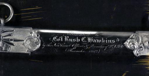 For courage and gallantry - Detail from the Tiffany silver sword presented to Col. Rush Hawkins of the 9th New York Volunteers in May 1863. The sword, part of the AnnMary Brown Memorial established at Brown by Hawkins, was stolen from the University's collections in 1977 or earlier.