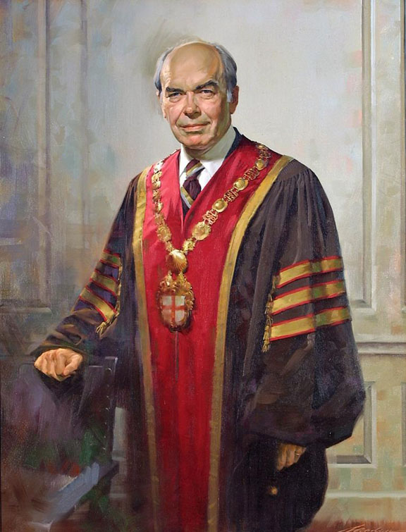 "Donald Frederick Hornig: Fourteenth President of Brown University""Frontiers are dangerous places. The front edge of change is dangerously sharp. But it is where a great university belongs."" (Inaugural address)Sayles Hall Portrait by John Howard Sanden, 1976"