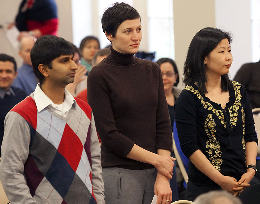 Salomon Award winners: From left, Shreyas Mandre, Laura Kertz, and Joo-Hyun Song were three of the 12 faculty recipients of Salomon Awards.Credit: Mike Cohea/Brown University