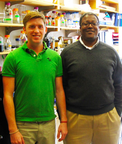 """Extremely gratifying results"": Graduate student Corey Compton, left, and Jason Sello synthesized 14 β-lactones. Four of them killed a close relative of the TB bacterium. β-lactone 7 was the most potent."