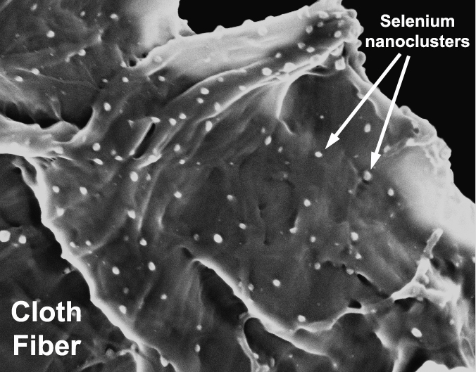 Mercury Sponge: This electron microscope image shows the internal structure of the active sorbent lining. The cloth fibers are laced with active selenium nanoclusters to capture the mercury.
