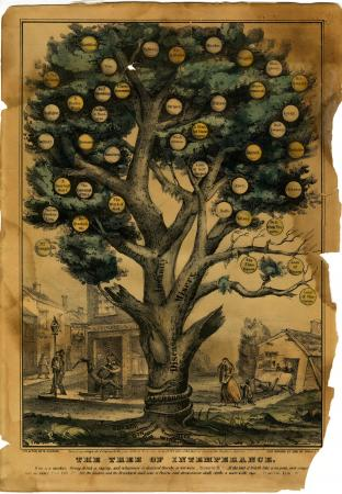 """The Tree of Intemperance - Fruit on the """"Misery"""" branch: Alms House, Imprisonment, Idiocy, Rags, Delirium Tremens, Idleness, and A Bloated Countenance. The tree is rooted in alcohol. (Lith. and Pub. by N. Currier, 1849)"""