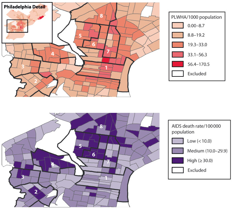 Living and dying with HIV/AIDS: Maps of Philadelphia show people living with HIV/AIDS per 1,000 (top) and AIDS death rate per 100,000. Darker areas have more people living with HIV/AIDS and a higher AIDS death rate. Areas 1 and 4, here and below, show similar infection levels but marked contrast in death rate and economic/racial factors.