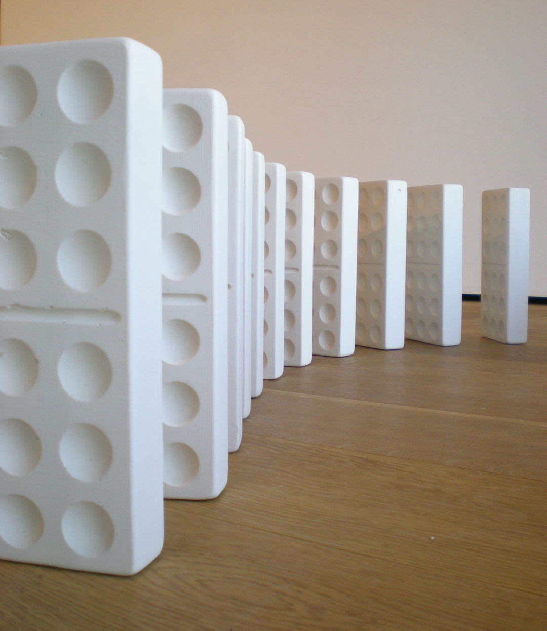 Kelli Rae Adams: Mizaru, Kikazaru, Iwazaru: Unfired porcelain, dimensions variable (2010)