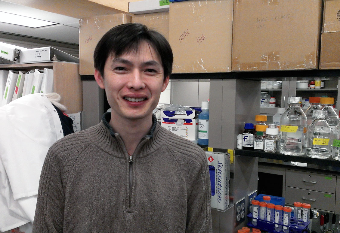 "Lead author Hua Bai: ""For now this research is in fruit flies, but we think it can be extended to human aging biology."" Credit: David Orenstein/Brown University"