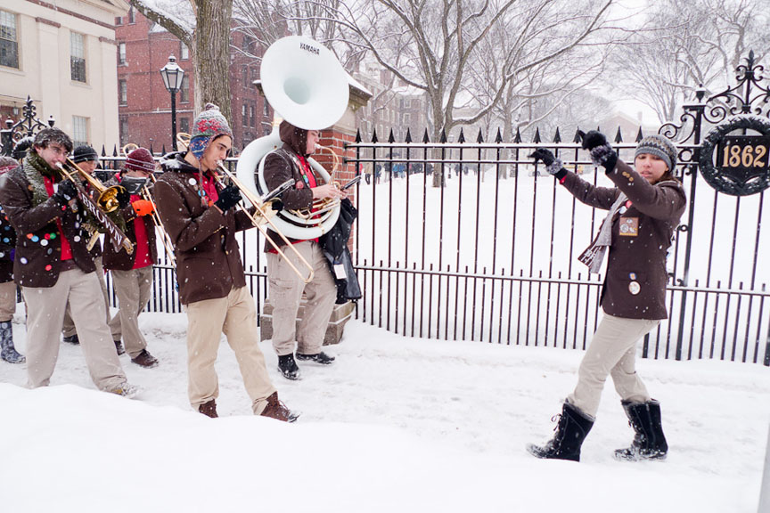 Cold hands, warm hearts: The Brown Band helped welcome transfer students and visitors from the Brown–Tougaloo College Partnership. They marched Tuesday, January 25, between snow storms.   Credit: Ken Zirkel