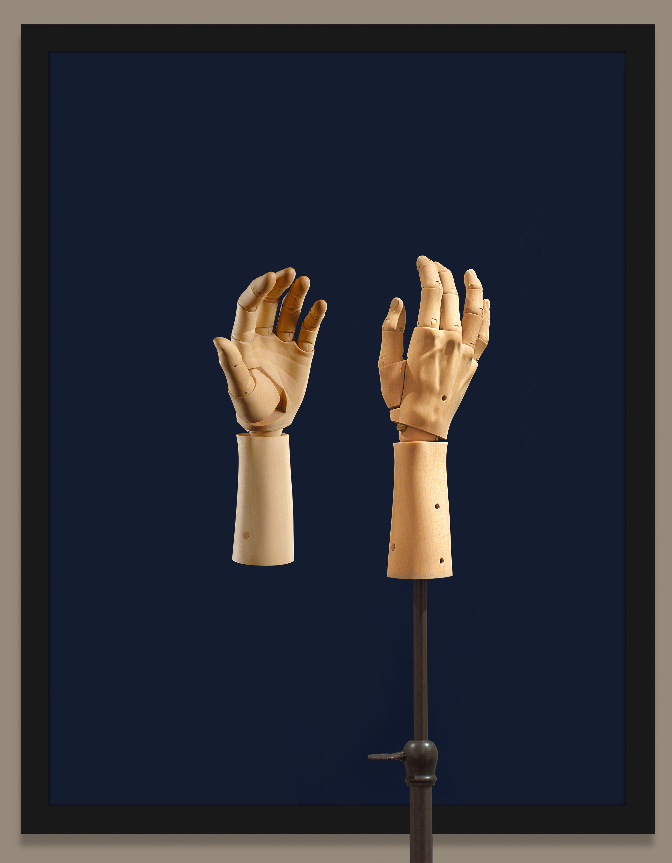 Elizabeth King, Bartlett's Hand (2005): A carved wooden sculpture has movable joints that hypnotically come to life in an accompanying animated film. From the collection of Robert and Karen Duncan, Lincoln, Nebraska