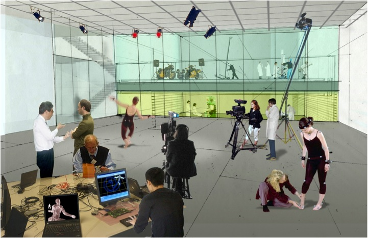 : While working in a production area, students can view activities in adjacent spaces through a sheer glass wall.