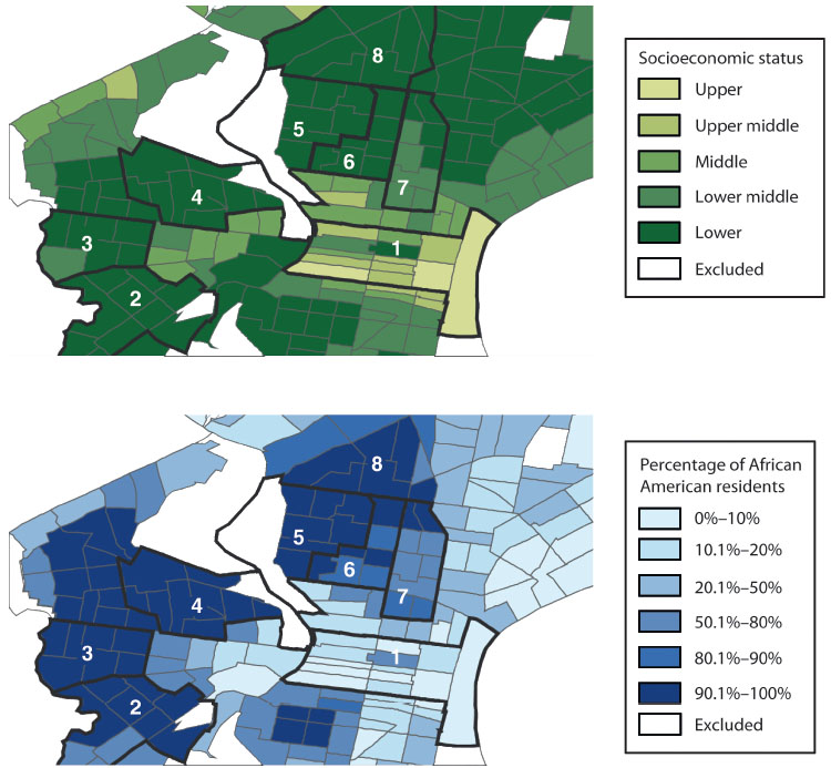 "Communities by socioeconomic status and race: The infection and death data from the maps above correlate with these maps of socioeconomic status (top, darker green areas are poorer) and race (darker blue areas have higher percentage of African American residents). ""Many of our resources don't go to the communities who need them most,"" said researcher Amy Nunn, ""but we know exactly where people live who are becoming infected."""