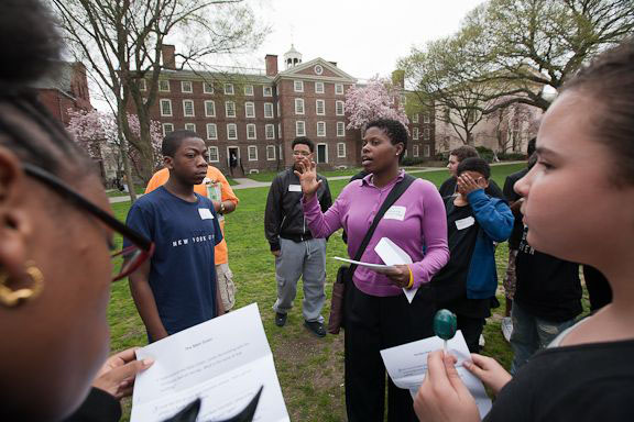"It's not just about Brown: ""I'm hearing that the students are returning to their schools excited about the 'possibility of opportunity,' and that's what is encouraging,"" said Holly Harriel, above, director of education outreach at Brown, who organized A Day @ College."