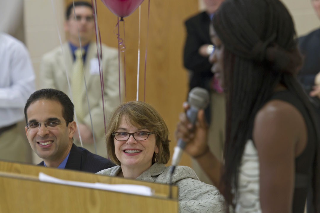 "Cheering section: Mayor Angel Taveras and President Christina Paxson were on hand to congratulate Alvarez seniors on their plans for college. ""What you're doing is awesome in so many ways,"" Taveras said."