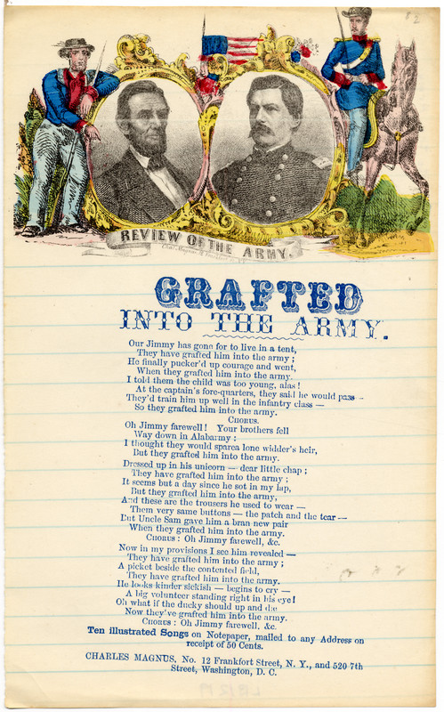 "Grafted into the Army: ""I thought they would spare a lone widder's heir, but they've grafted him into the army.""Credit: The John Hay Library/Brown University"