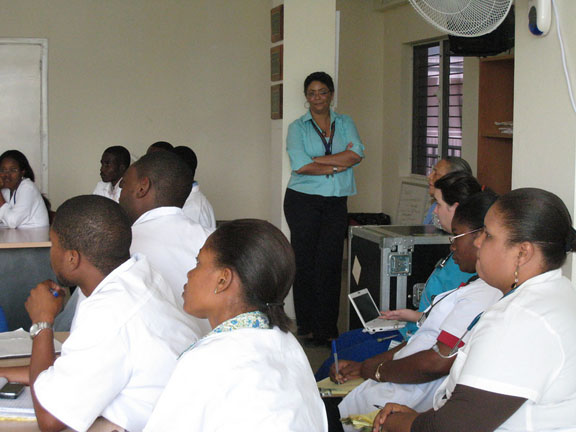 Time in class: During their visit in March, Brown medical educators delivered 10 lectures to Haitian medical students.