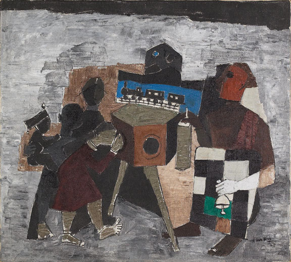 M.F. Husain, Amusement in the Street (1957): Oil on canvas, 14 1/4 x 20 1/2.Lent by Amrita Jhaveri, Class of 1991.
