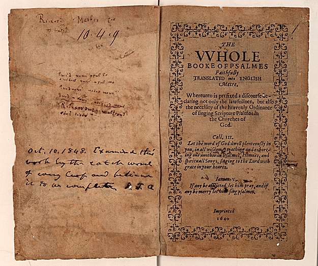 The Bay Psalm Book (1640): The Bay Psalm Book is the first book printed in British North America. This copy, from the John Carter Brown Library, is one of 11 copies of the first edition known to exist and one of only four perfect copies.