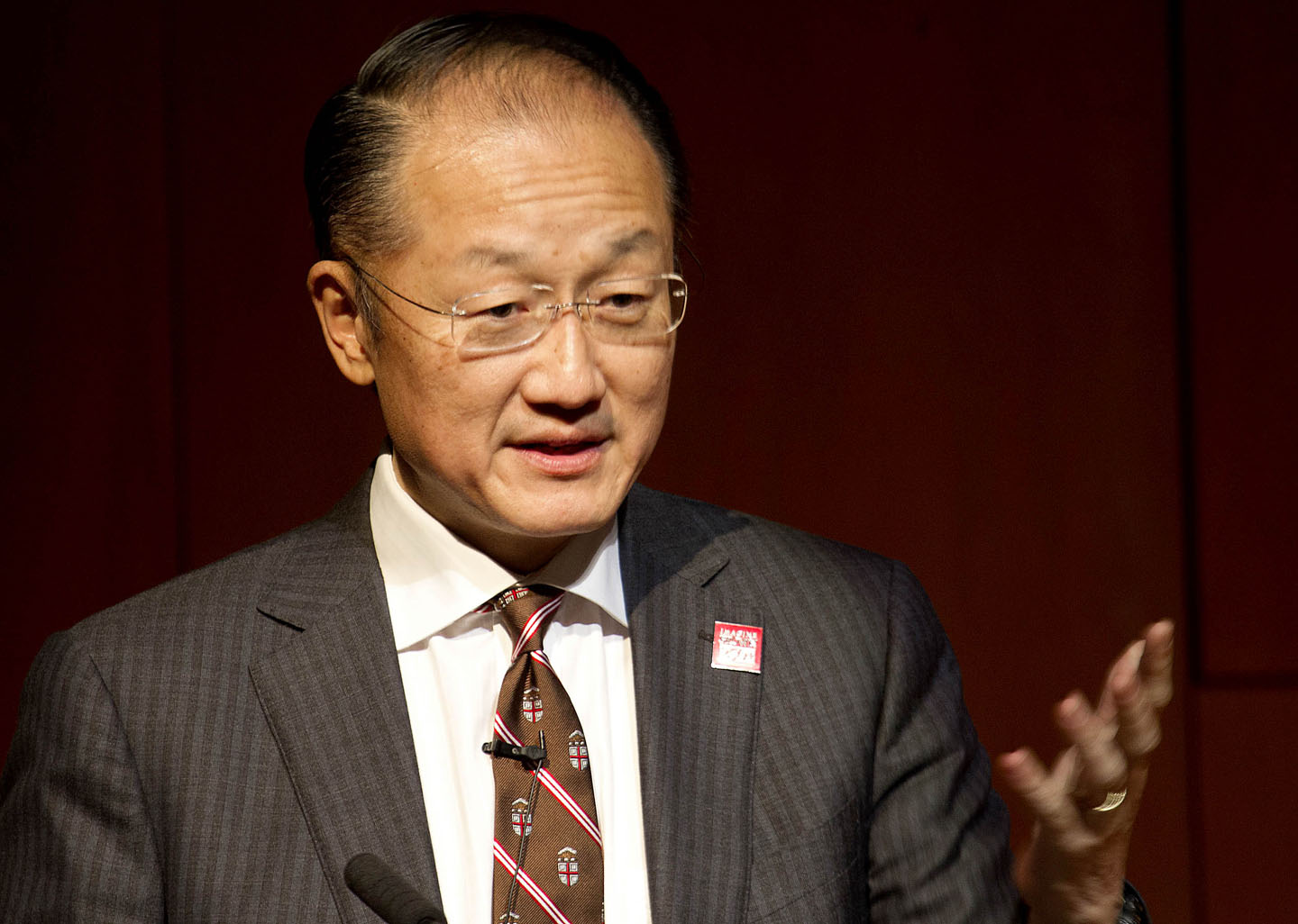 "Jim Yong Kim, World Bank president: ""Please, go change the world."" Credit: Frank Mullin/Brown University"