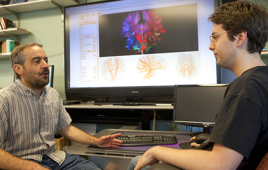 Making 2-D diagrams of 3-D complexities: David Laidlaw, left, and Radu Jianu worked with colleague Çağatay Demiralp to develop software tools that allow neuroscientists to examine 2-D and 3-D maps and images of the brain — and to share their work across the Web.  Credit: Mike Cohea/Brown University