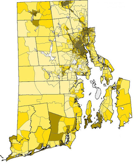 A selective scourge: A higher incidence of lead poisoning (darker areas), using 1993-2005 data, correlated with lower income areas and communities with a preponderance of older, pre-1950 housing stock. Credit: Vivier et al./Brown University