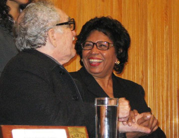 Laughing like old friends: Former President Ruth Simmons met García Márquez in 2007, when she delivered an address at the University of Guadalajara.